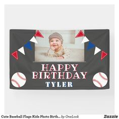 Cute Baseball Flags Kids Photo Birthday Party Banner