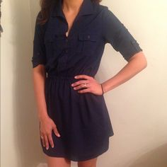 Navy Blue collard Mini Dress Like new size small. Beautiful detail and very cool material for the summer BeBop Dresses Mini