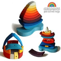 """Amazon.com: Grimm's Giant """"Boat on the Water"""" Wooden Rainbow Stacking Tower, 11 Blocks: Toys & Games"""