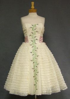 Very Sweet Ruffled Chiffon Strapless Prom Dress w/ Floral Embroidery