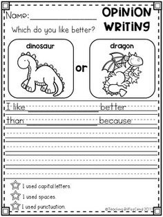 Writing Prompt: Opinion Writing for first grade. This is also great for kindergarten and second grade to build confidence in writing. Opinion Writing Prompts, Writing Strategies, Persuasive Writing, Writing Lessons, Writing Practice, Writing Skills, Writing Comprehension, Writing Process, Kindergarten Writing