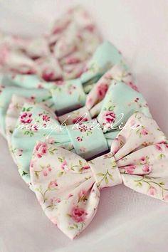 <3 Cute Hair Floral Print Hair Bow, Pink or Light Blue <3