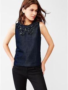 Indigo floral applique top | Gap