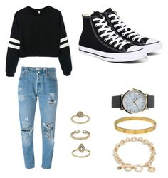 """""""Black and White"""" by washingtonkellie on Polyvore featuring Levi's, Converse, NLY Accessories, Topshop, Cartier and Vera Bradley"""