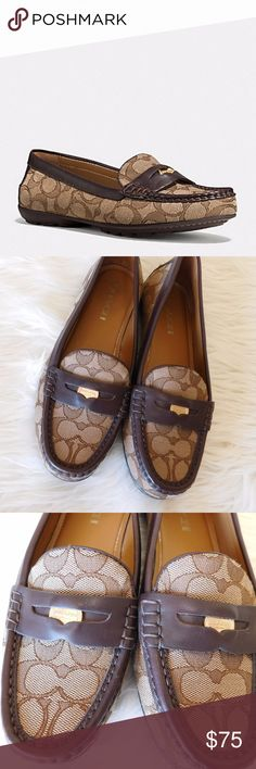 Coach Signature Penny Loafers - Size 9 Excellent condition! Like new! No signs of wear. Hard to find, signature Coach Penny loafers in Khaki/ Chestnut. Coach Shoes Flats & Loafers