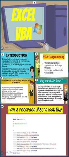 For full text article go to : https://www.educba.com/vba-excel/ This article on VBA Excel gives you a brief about the use of VBA in Excel and also some steps to record a macro in excel.