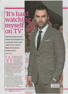 Aidan Turner in the papers.june 2017