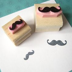 Hand Carved Rubber Moustaches by Folksy