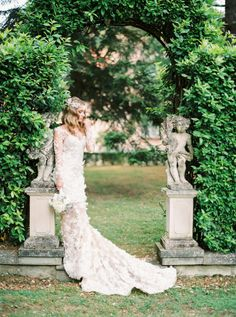 Stunning floral detailed Pronovias gown: http://www.stylemepretty.com/little-black-book-blog/2015/09/14/elegant-tuscany-villa-wedding-boudoir-inspiration/ | Photography: http://www.thecablookfotolab.com/