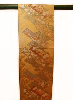 Bronze/Gold Silk Japanese Obi with gold embroidery and flower motif