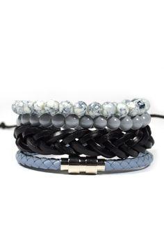 4 Pack Aqua Gray Bracelet Set