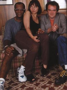 "Quentin Tarantino, Samuel L. Jackson & Maria de Medeiros on the set of ""Pulp Fiction"""
