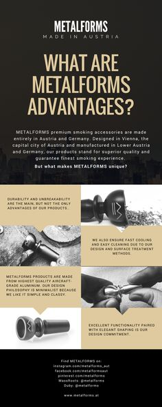 What are METALFORMS advantages? Check us out on www. Marijuana Plants, Cannabis, Smoking Accessories, Vienna Austria, Ganja, Stoner, Infographics, Weed, Bowls