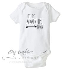 Let the Adventure Begin Baby Onesies®, Pregnancy Announcement Onesies, Coming Home Baby Outfit, Newborn - Baby . Baby Bodysuit, Baby Onesie, Newborn Onesies, Diy Clothes Organiser, Diy Clothes Videos, Hipster Babies, And So The Adventure Begins, Coming Home Outfit, Boho Baby