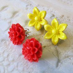 Flower Earrings Studs Red Mum Flower Earrings Studs Yellow