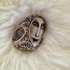hand painted hand gilded beach stone ORIGINAL by vanolga on Etsy, $85.00