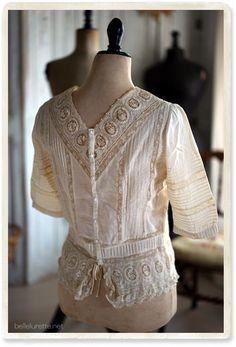 フランスアンティークレースブラウス - 【Belle Lurette】ヨーロッパ フランス アンティークレース リネン服の通販