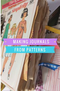 "Sweet junk journals made from vintage sewing patterns.  I used ""The Cinch"" to bind the coffee stained pages.  Many ""sewing themed"" embellishments and tags on the inside.  Watch the video and be inspired!"