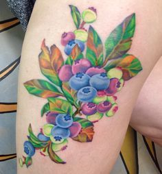 outline high color tattoo. Blueberries. Color tattoo. Thigh tattoos ...