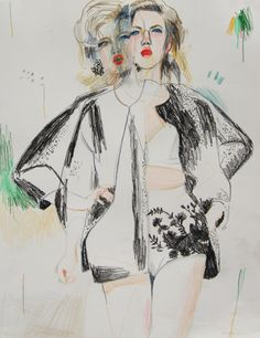 Fashion Illustration by Alexandra Levasseur of DSquared2 SS14, pinned by Modeconnect.com