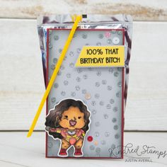 This project uses the Icons set and Confetti stencil by Kindred Stamps. Check out my blog for more details on how I made this project!