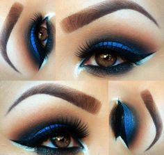 Electric blue shadow with cat eye