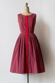 vintage 1950s red cotton day dress