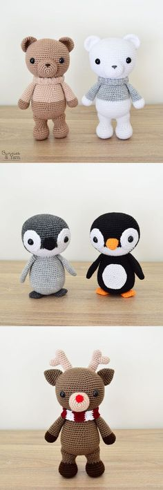 Three Crochet Patterns - Bear, Penguin and Reindeer - Amigurumi