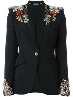 Shop Alexander McQueen embellished blazer in Stefania Mode from Trapani, Italy Sparkly Outfits, Cool Outfits, Fashion Seasons, Blazer Fashion, Blazers For Women, Fashion Details, Couture Fashion, Designing Women, High Fashion