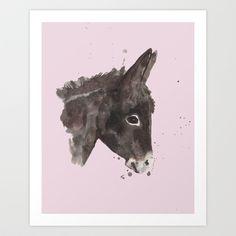 #donkey #painting #rose #pink #gentle #animal #art #nursery #baby #girl #barnyard #farm #farmyard #ass #burro #print #watercolor