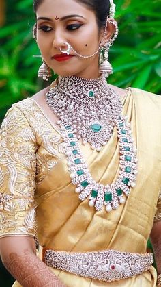 Saved by radha reddy garisa Indian Bridal Outfits, Indian Wedding Jewelry, Bridal Blouse Designs, Saree Blouse Designs, Diamond Earrings Indian, Indian Jewellery Design, Silver Jewellery, Diamond Jewellery, Bridal Jewellery