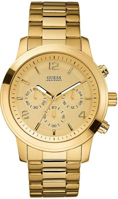 guess mens gold watch | GUESS Watch, Men's Chronograph Gold-Tone Stainless Steel 45mm U15061G2 ...
