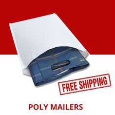 Red Color Poly Mailers Shipping Boutique Bags 2.5 Mil 200 9x12
