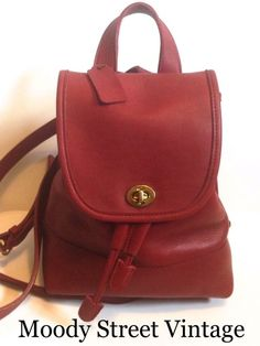 4e50411611cb Vintage Coach 9960 Red Drawstring Daypack Backpack Purse Thick Supple  Leather  Coach  BackpackStyle 코치