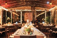rustic barn wedding lighting and table settings