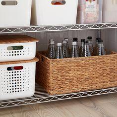 White Nordic Storage Baskets with Handles Baskets For Shelves, Storage Baskets With Lids, Storage Shelves, Pantry Baskets, Basket Storage, Storage Ideas, Onion Storage, Potato Storage, Small Kitchen Organization