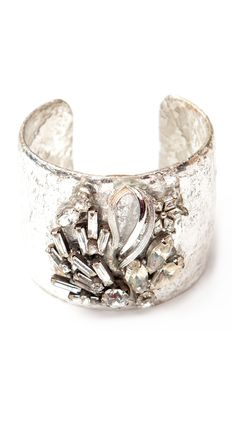 Trina Vintage Cuff:   Fine silver leaf over brass. Handmade, one-of-a-kind.  Authentic Vintage Details