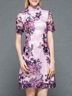 Purple Gauze Embroidered Shift Dress