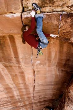 Climbing.  Lauren Lee on Master Blaster, 5.13+ in Zion