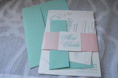 Custom seafoam & blush wedding invitations by Something Printed