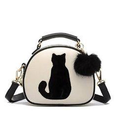 Sac à main beige pour femme avec avec bandoulière noir. Design de chat noir en motif. Sac très mode