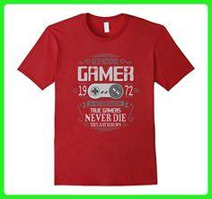 Mens 45th Birthday Old School Gamer Never Die T-Shirt Medium Cranberry - Gamer shirts (*Amazon Partner-Link)
