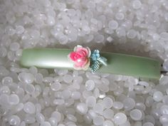 Beautiful vintage barrette soft green with by rosebudcottage