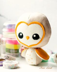 PDF. Barn owl Plush Doll Pattern. Softie Pattern by Noialand