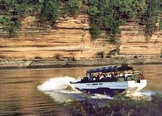 """Wisconsin Dells Duck tours... They're called D.U.K.W.s – in military code, that's D = 1942 , U = amphibian, K = front-wheel drive, W = rear-wheel drive - but everybody just calls them """"Ducks."""" And when you combine these amphibious vehicles with the fantastic river scenery of the Dells, the result is one very unique experience."""
