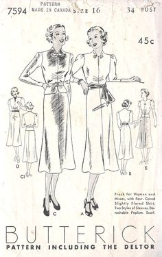 1930s Misses vintage dress sewing pattern by MissBettysAttic, $28.00