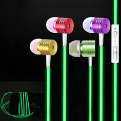 Hot Cool Luminous Headphones Glow In The Dark In-Ear Metal Earphones Stereo Headset With Microphone For Xiaomi Samsung iPhone 4S iPhone Hrvatska - Najbolja online kupovina za vas ! | iPhone.hr