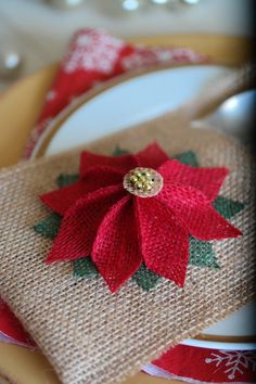 Items similar to Christmas Silverware Holder, Christmas Table Decoration, Burlap Cutlery Pocket, Rustic Utensil Holder on Etsy Burlap Christmas Ornaments, Christmas Napkins, Christmas Mom, Christmas Table Decorations, Christmas Sewing, Decoration Table, Handmade Christmas, Christmas Crafts, Silverware Holder