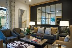 Living Room From HGTV Smart Home 2015 Intriguing textures, rustic accent walls and cozy furnishings are showstopping features in the living room and entertaining hub. Living Room Mirrors, Living Room Furniture, Living Room Decor, Living Spaces, Living Rooms, Canapé Design, House Design, Design Ideas, Bedroom Minimalist
