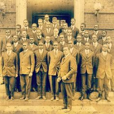 #Morehouse College, circa 1911. Kemper Harold the founder of the Morehouse College Glee club. The men standing with him are members of the Glee Club. The History and tradition of men.